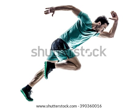 man runner jogger running  isolated Royalty-Free Stock Photo #390360016