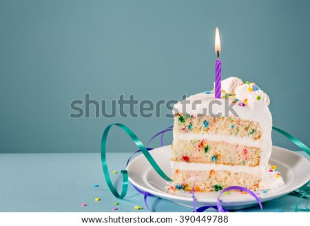 Slice of Birthday Cake with a lit candle and ribbons over a blue background.
