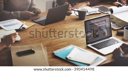 Marketing Team Meeting Brainstorming Research Concept Royalty-Free Stock Photo #390454498