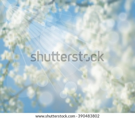 Vector illustration EPS 10. Ecology label. White spring flowers on a tree. Spring blossoming. Spring blurred background. Mesh blurred background. Template for poster. #390483802