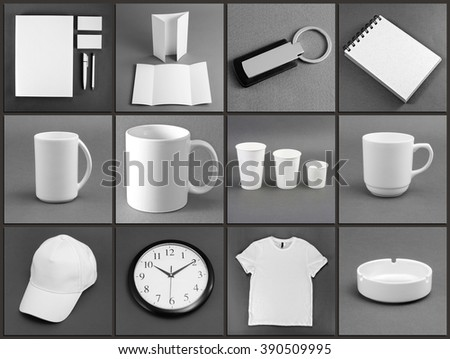 Set of white stationery on gray background #390509995