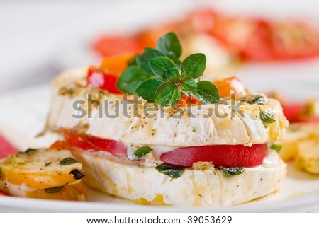 Plate of Cheese and marinated in garlic with vegetable and herb #39053629