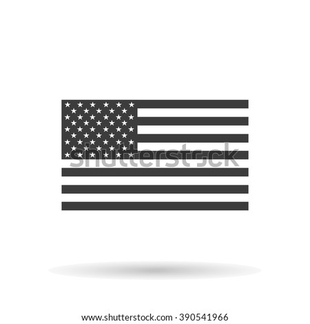 American flag icon with shadow, isolated on a white background, stylish vector illustration for web design