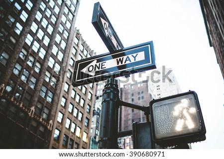 One way signs and traffic lights in Manhattan, New York City, USA