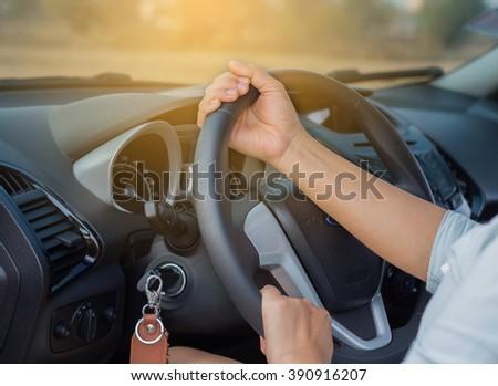 Hand driving car or drive a car #390916207