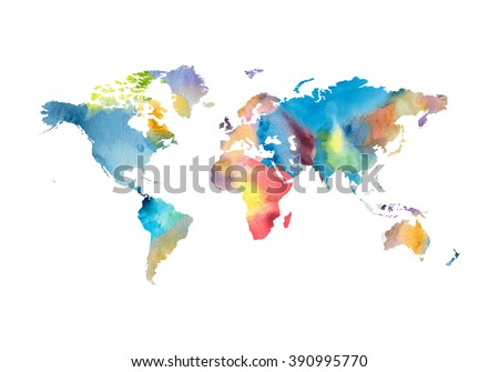 Image of watercolor world map on white.