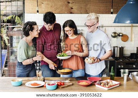 Friends Kitchen Cooking Dining Togetherness Concept #391053622
