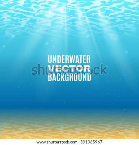 Underwater background  in light blue tone with sand sunrays falling from the waves vector illustration