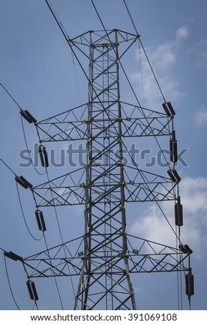 a high-voltage pylons for electricity #391069108