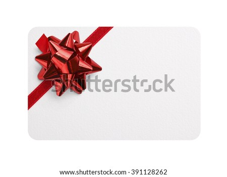 Isolated gift card with red bow #391128262
