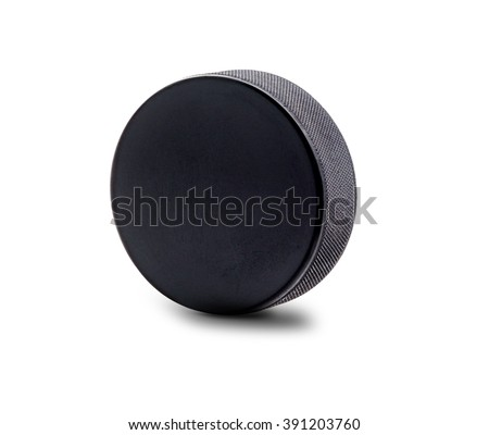 A black hockey puck in upright position isolated on white background with copy space. #391203760