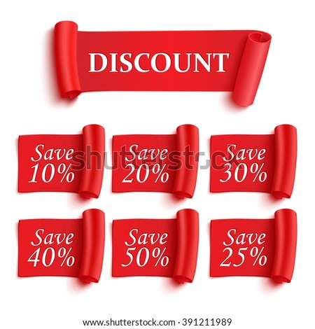 Set of realistic detailed red paper stickers or banners.Discount save. Vector illustration #391211989