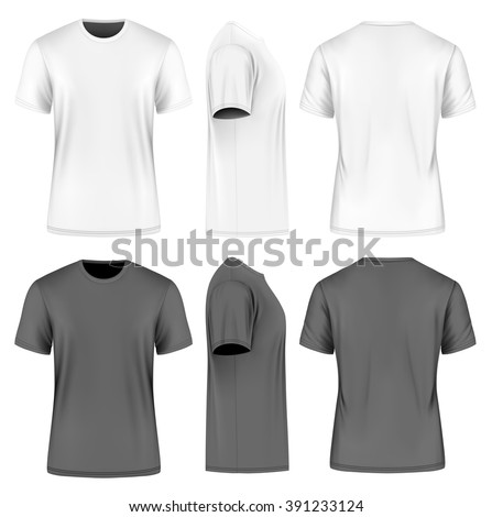 Men's short round neck t-shirt . Front, side and back views. Vector illustration. Fully editable handmade mesh. Black and white variants.