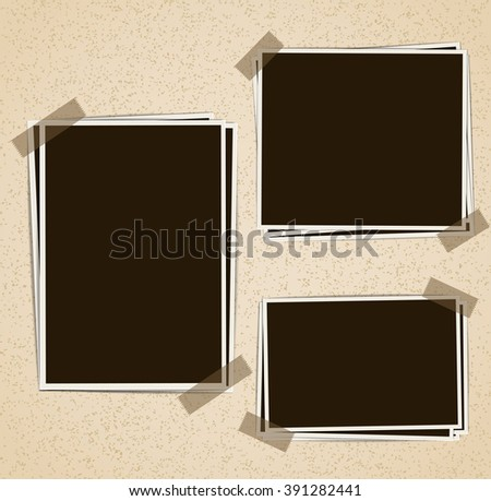 Photo frames composition with tape on retro background. Vector design template #391282441