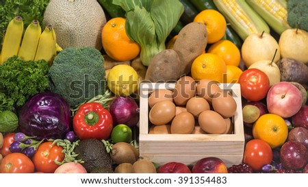 Set of differrent raw food for healthy #391354483