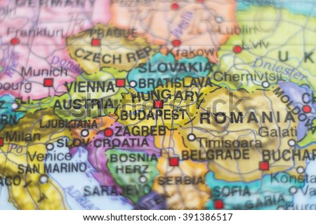 Photo of a map of Hungary and the capital Budapest . Royalty-Free Stock Photo #391386517