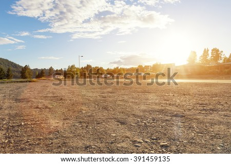 empty ground near lake in summer d day in New Zealand Royalty-Free Stock Photo #391459135