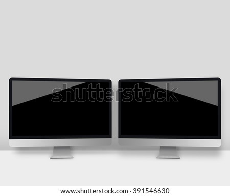Two computer monitors with a black screen on a desk #391546630