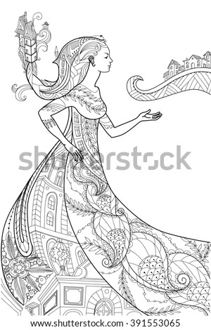 Beautiful  women with abstract hair  design elements could be used for coloring book. Vector illustration, isolated on a white background #391553065