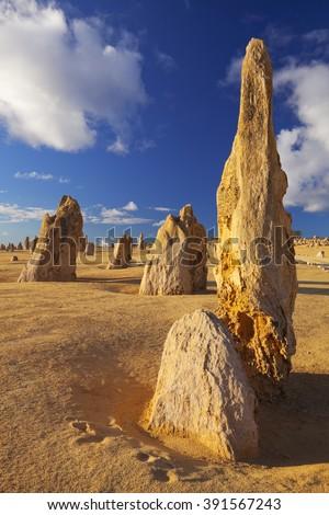 The Pinnacles Desert in the Nambung National Park, Western Australia.