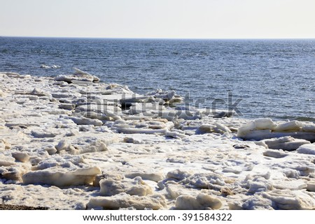 sea ice natural scenery in winter, closeup of photo #391584322