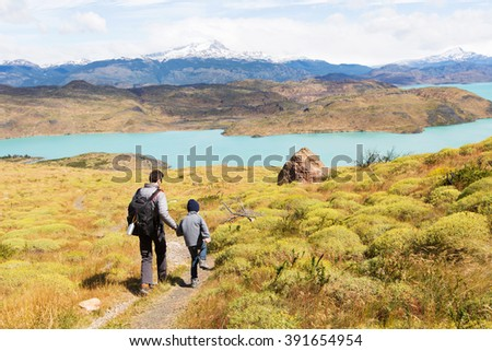 active father and his son having adventure hike at torres del paine national park, patagonia, chile #391654954