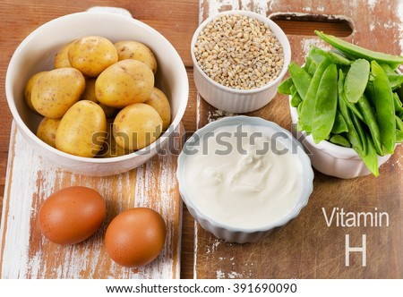Vitamin H Rich Foods on wooden board. Healthy eating. Top view #391690090