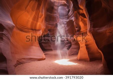 Light pole in Antelope Canyon, Arizona Royalty-Free Stock Photo #391793020