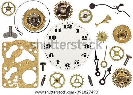 Spare parts for clock. Metal gears, cogwheels, clock face and other details #391827499