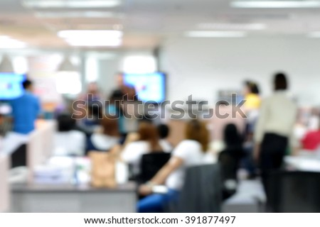 Blurred image of staffs meeting informally in morning working day #391877497