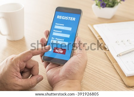 Register Membership Application on mobile smartphone, Business Concept. soft focus.