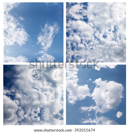 set of images with bright blue sky with light clouds #392015674
