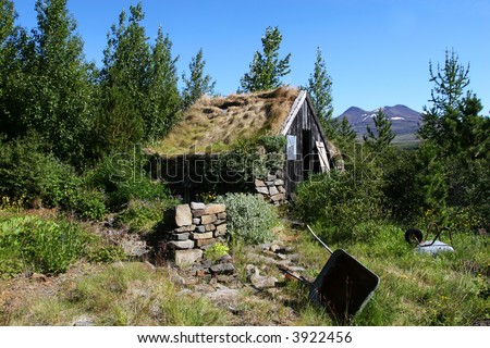A mountain cabin in disrepair surrounded by growth and trees #3922456