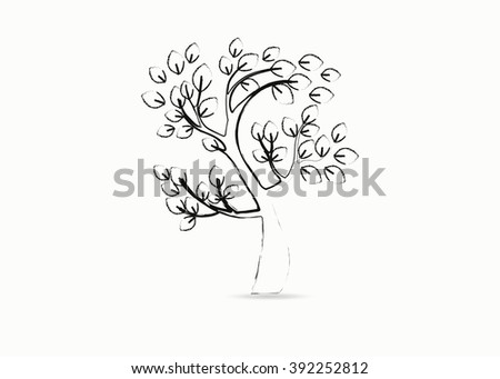 Beautiful vector tree silhouette icon for websites #392252812