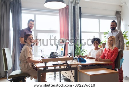 business, startup and people concept - happy creative team in office #392296618