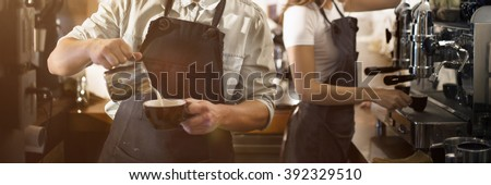 Barista Cafe Coffee Grinder Pour Professional Concept Royalty-Free Stock Photo #392329510
