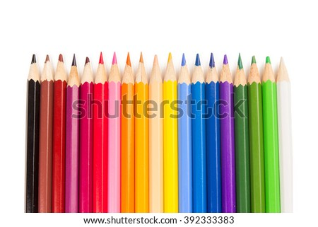 Colorful kit of wooden pencils on the white background #392333383