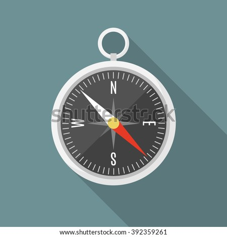 Isolated flat silver compass with shadow. compass traveler. compass icon. modern compass design. compass sign, vector compass object illustration. compass isolated. compass object. compass minimalism