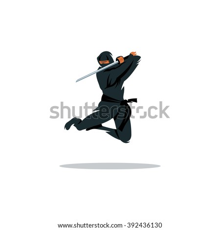 Vector Asian Ninja Cartoon Illustration. Asia Assassin fighter. Warrior in black dress blade strikes in a jump Branding Identity Corporate Logo isolated on a white background #392436130