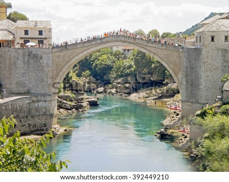 View to old bridge in the Mostar,Bosnia and Herzegovina