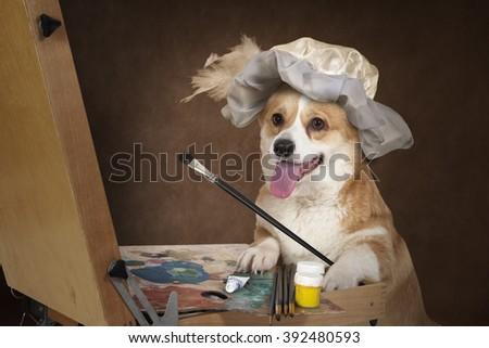 Welsh corgi Pembroke dog artist paints a picture indoors