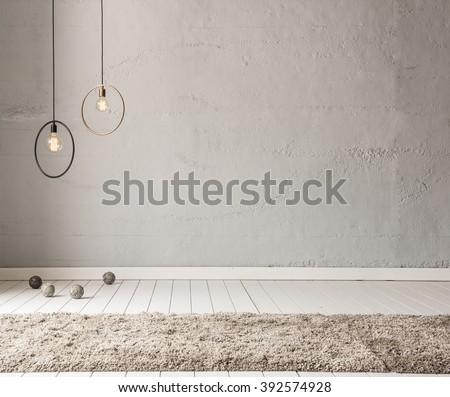 stone wall lamp modern interior decoration empty room Royalty-Free Stock Photo #392574928