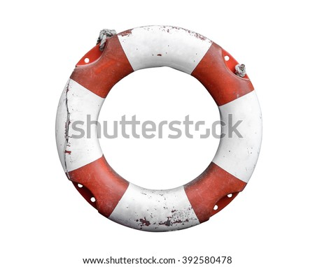 Isolated Grungy Lifebuoy Or Life Preserver With Rope On White Background Royalty-Free Stock Photo #392580478