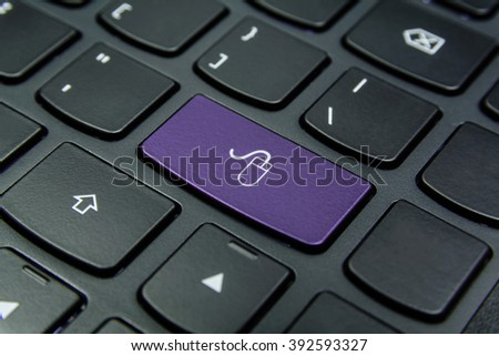 Close-up the Mouse symbol on the keyboard button and have Lavender color button isolate black keyboard #392593327