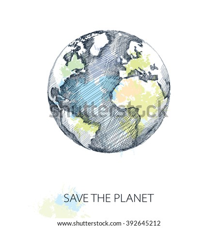 Vector sketch of earth planet in black isolated on white background with pastel blots. Hatching design element. Poster for Earth Day in April 22. #392645212