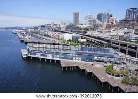 SEATTLE - JUL 20, 2015 -  Aerial view of the Seattle waterfront,  Seattle, Washington #392812078