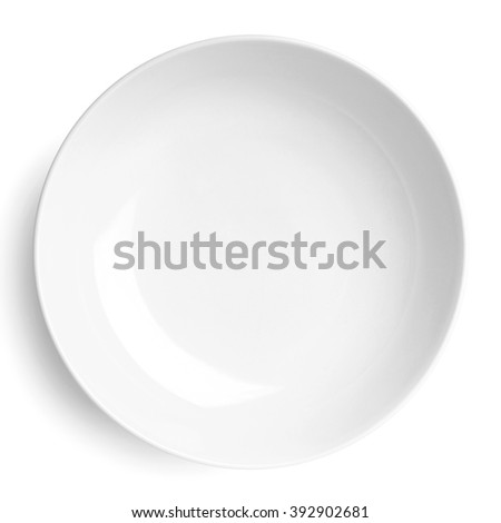 Empty plate. Isolated on white background. View from above Royalty-Free Stock Photo #392902681