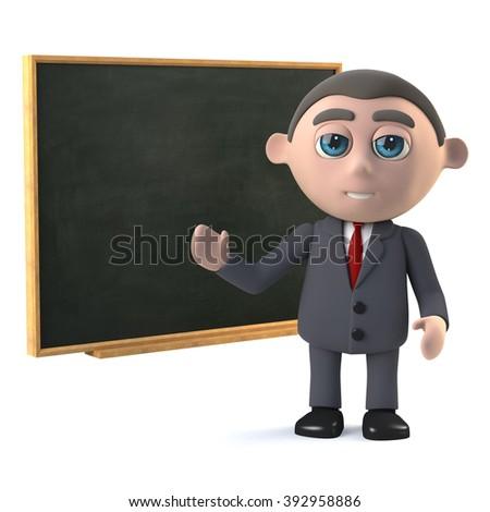 3d render of a businessman teaching at a blackboard