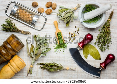 Cooking ingredients, herbs, spices and seasoning with kitchen utensils. #392960860