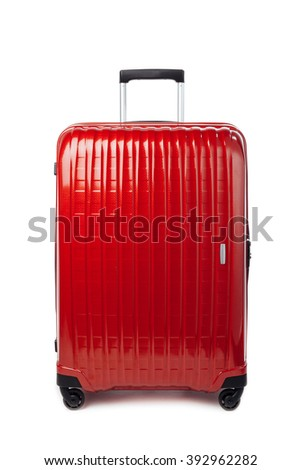 red carbon suitcase isolated on white #392962282